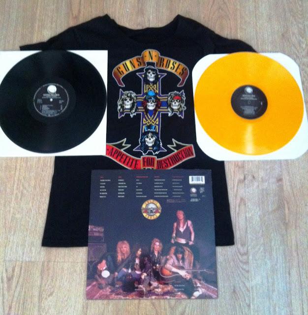 Guns N' Roses - Appetite for Destruction (1987) Contraportada, Discos y Camiseta