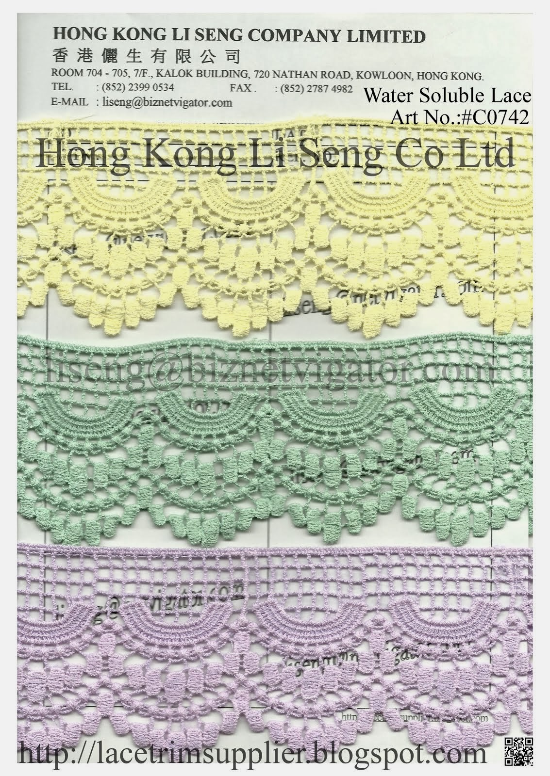 Embroidered Cotton Lace Trims Manufacturer Wholesale Supplier - Hong Kong Li Seng Co Ltd