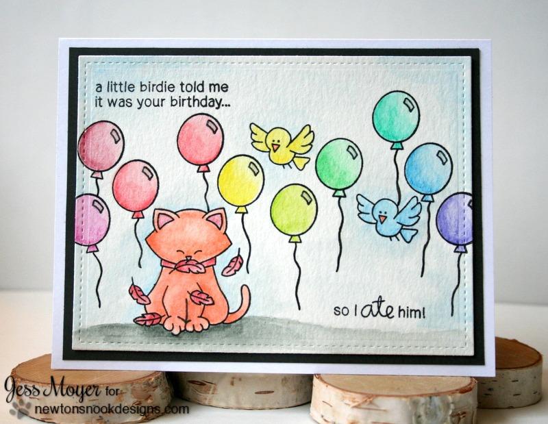 Rainbow Birthday Card by Jess Moyer featuring Newton's Nook Designs Birthday Flutter