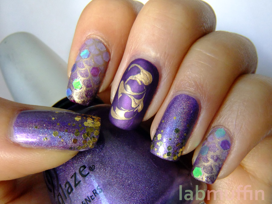 Round Nail Designs http://polishorperish.blogspot.com/2012/08/gold-and-purple-all-over-place-nail-art.html