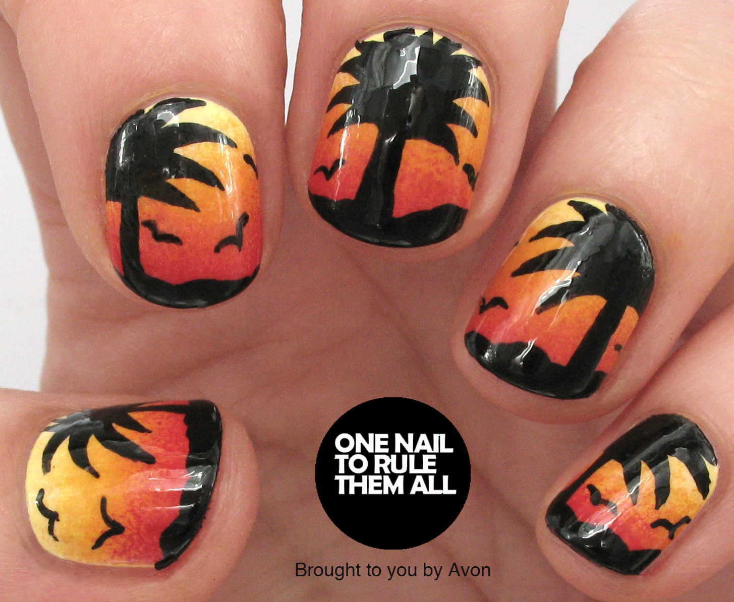 One Nail To Rule Them All Sunset Nail Art For Avon