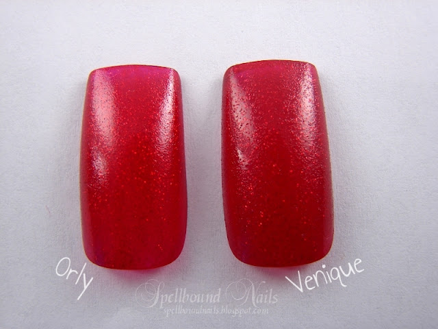 nails nailart nail art polish mani manicure Spellbound Venique Runway Sparkle shimmer glitter red deep dark Christmas holiday collection dupe Orly Star Spangled comparison color swatch one coat