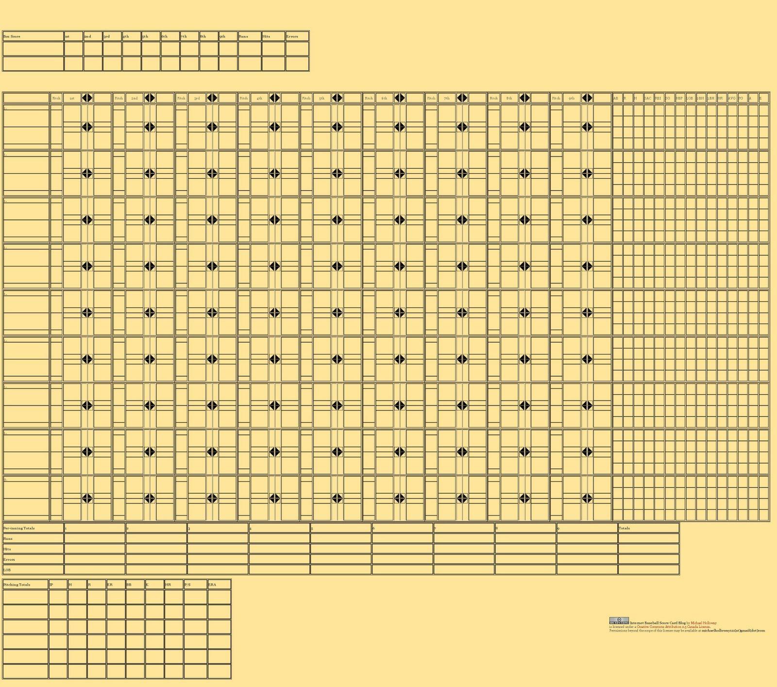 simple baseball score cards printable www