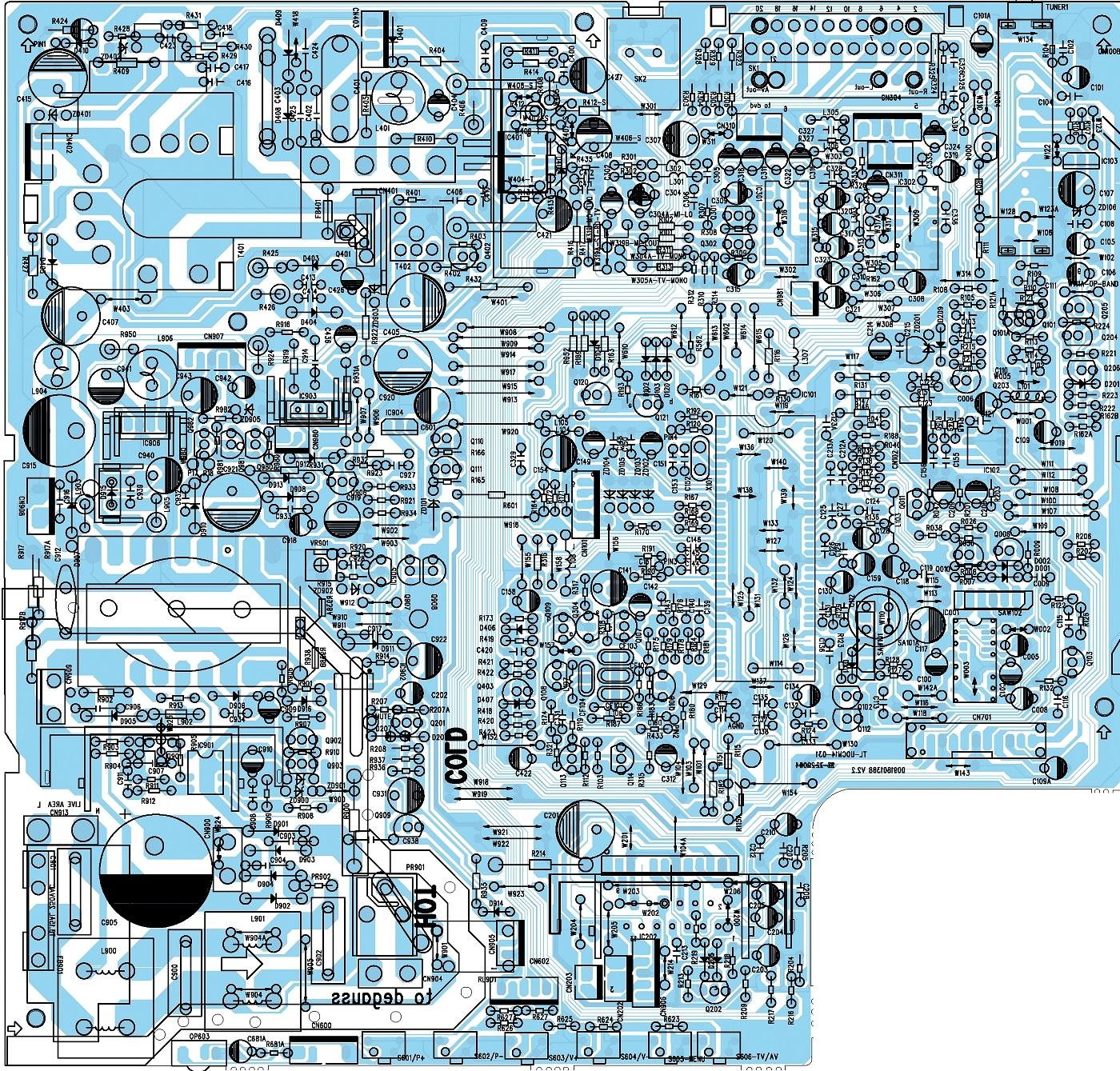 grundig k15 pfcd 2602 txt crt tv dvd service mode adjustments main board circuit diagram