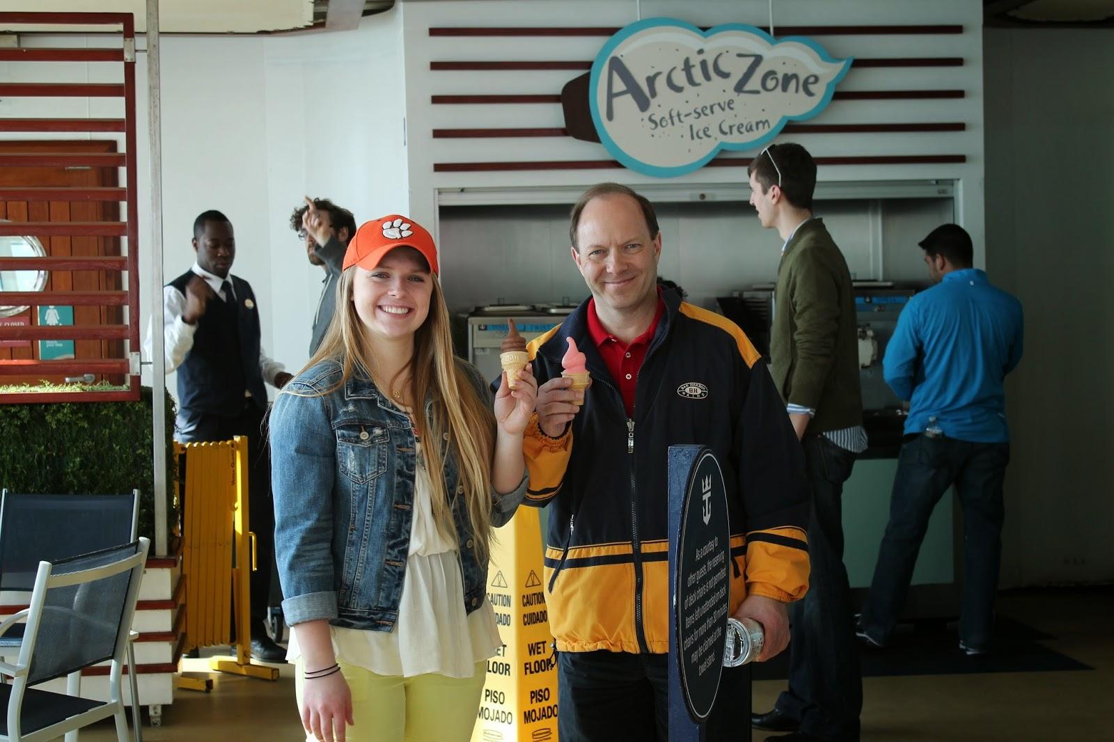 family holding ice cream cones on cruise ship, Royal Caribbean Arctic Zone