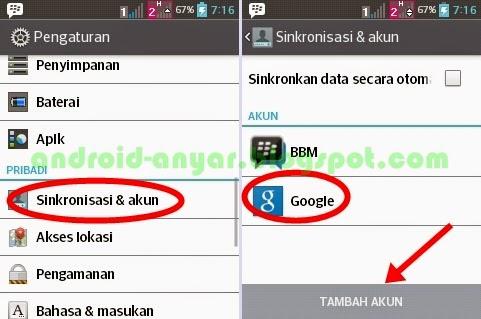 Sinkronisasi dan akun Google Android