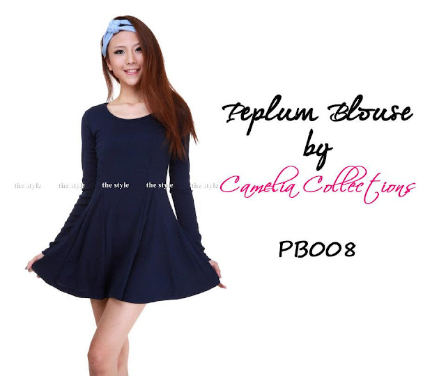 cotton peplum blouse dark blue