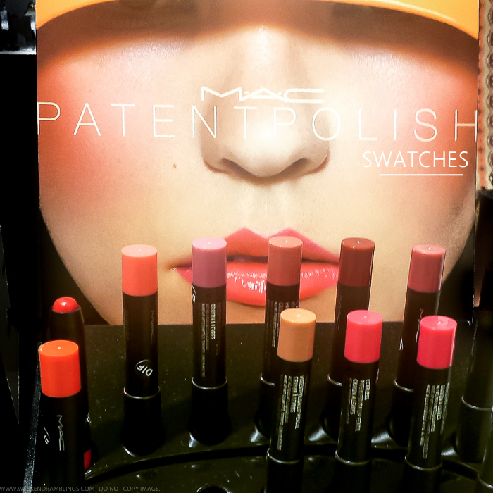 MAC Patentpolish Lip Pencils Swatches - Teen Dream Innocent Fearless Hopelessly Devoted French Kiss Sultana Spontaneous Ruby Kittenish Patent Pink Go for Girlie Pleasant Clever Revved Up Innocent