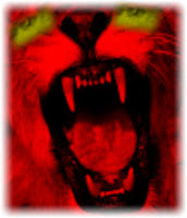 A graphic (c) Erika Grey of a photo of a lion's mouth that is all tinted red with demonic yellow glowing eyes. This symbol of The Antichrist is taken from the book of Revelation verse 13:2 which states that the Antichrist has the mouth of a lion