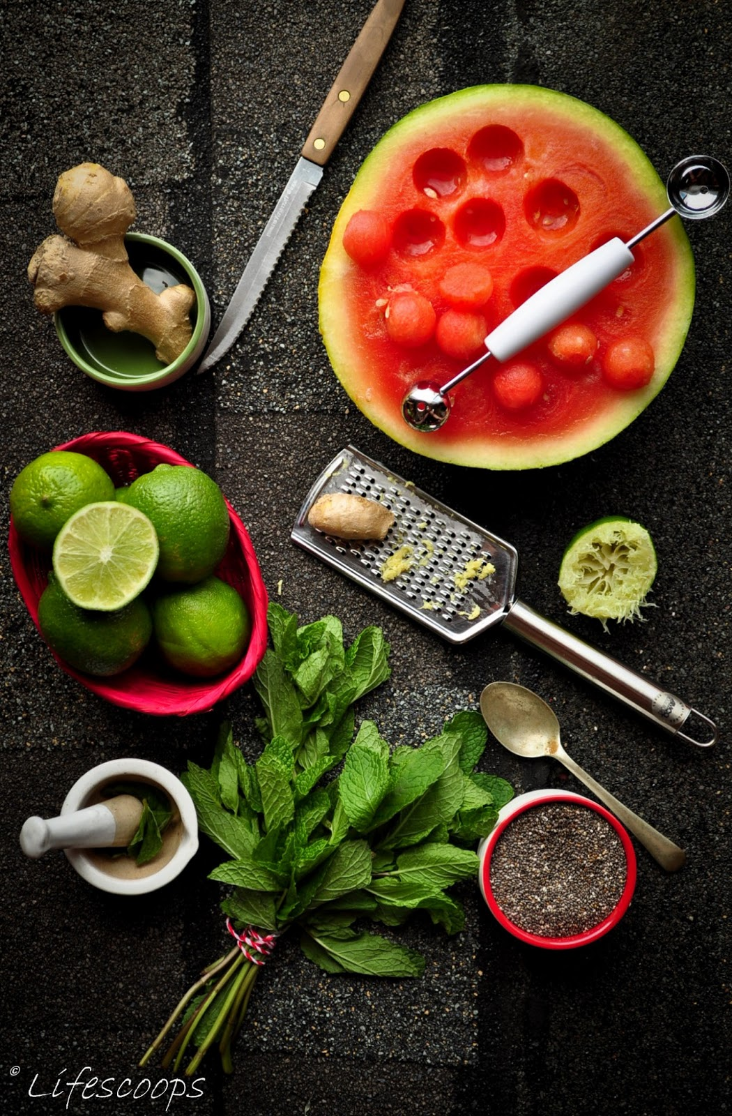Life Scoops: Minty Ginger Lime Watermelon Agua Fresca with Chia seeds