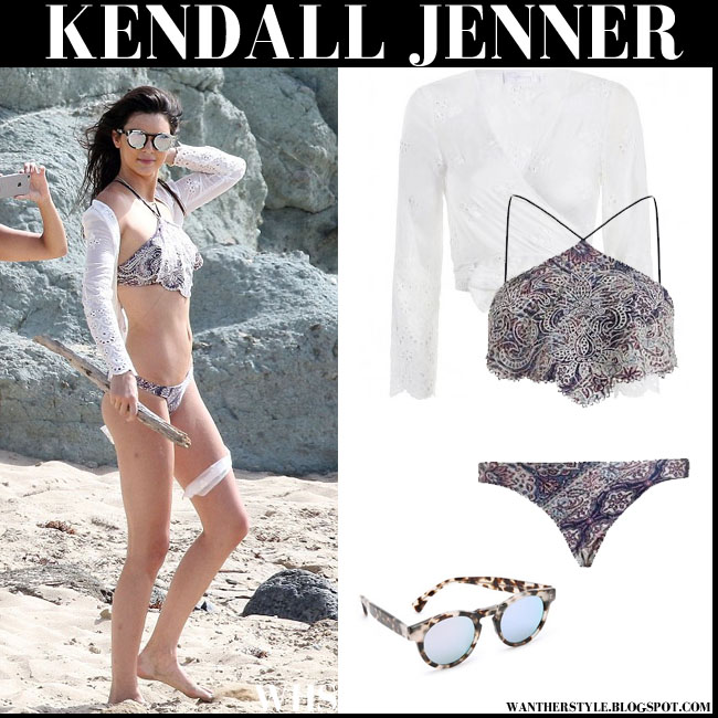 Kendall Jenner in paisley embroidered Zimmermann bikini and white Zimmermann cover up Illesteva mirrored sunglasses beach style