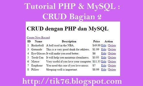 Tutorial PHP & MySQL : CRUD Part 2