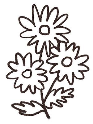 マーガレットのイラスト(花) モノクロ線画