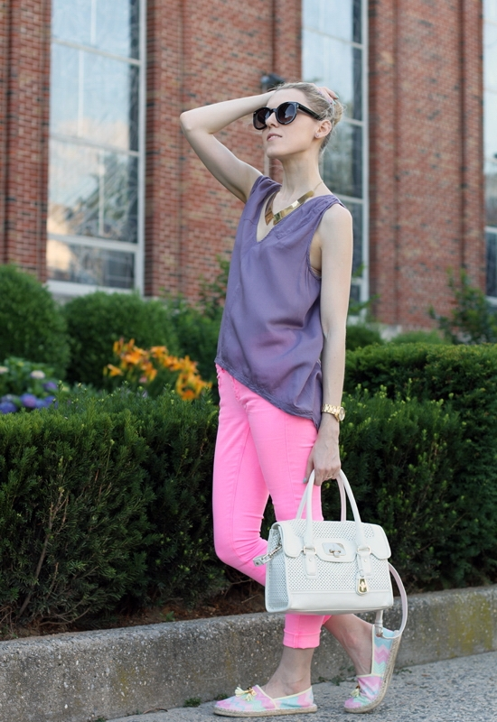 The Wind of Inspiration Outfit of the Day Post - The Mix Of Neon, Pastels And Chevron - Element Leona Woven Tank Top Mulberry Asos Petite Skinny Jean In Neon Pink #4 River Island Zig Zag Tassel Front Espadrilles Kenneth Cole New York Women's Yellow Gold Watch Essie 752 Turquoise & Caicos Duri 384 Backstage Pass Nail Polish Asos Oversized Retro Sunglasses Asos Metal Collar Necklace Cole Haan Ivory Perforated Vintage Valise Brooke Flap Tote Bag