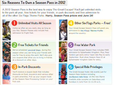 Six reasons to own a Season Pass in 2012 for SixFlags