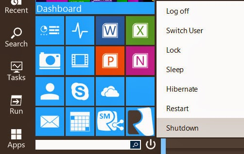 Shut down laptop windows 8