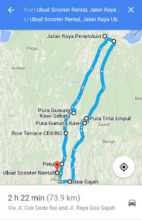 Map of one day trip by scooter / motorbike around ubud bali