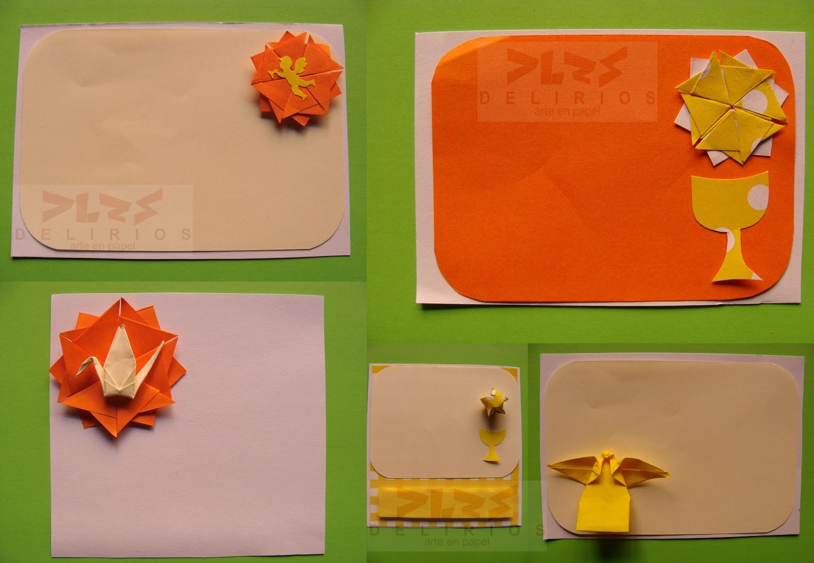 Delirios arte en papel comuni n en origami - Hacer tarjetas de comunion ...