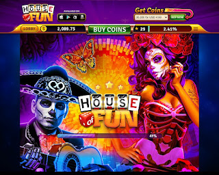 Loading page of Queen of the Dead slots from House of Fun at Facebook