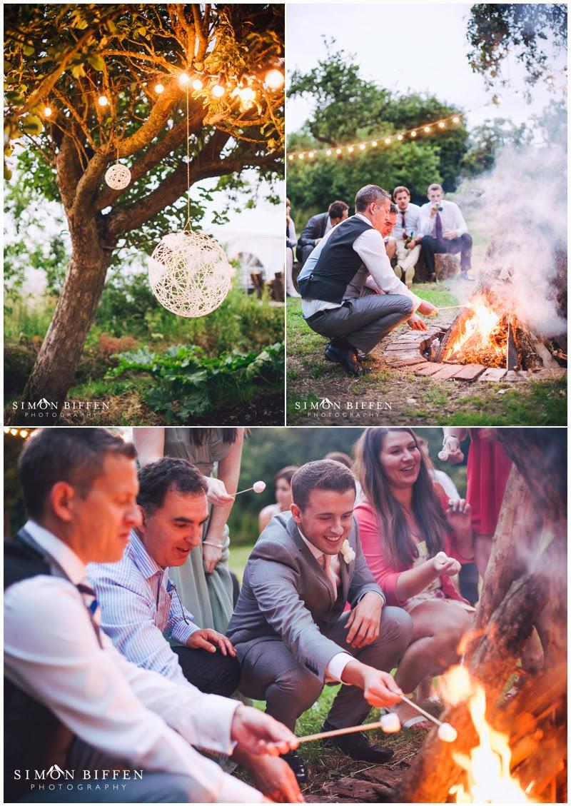 Roughmoor Farm wedding evening reception camp fire