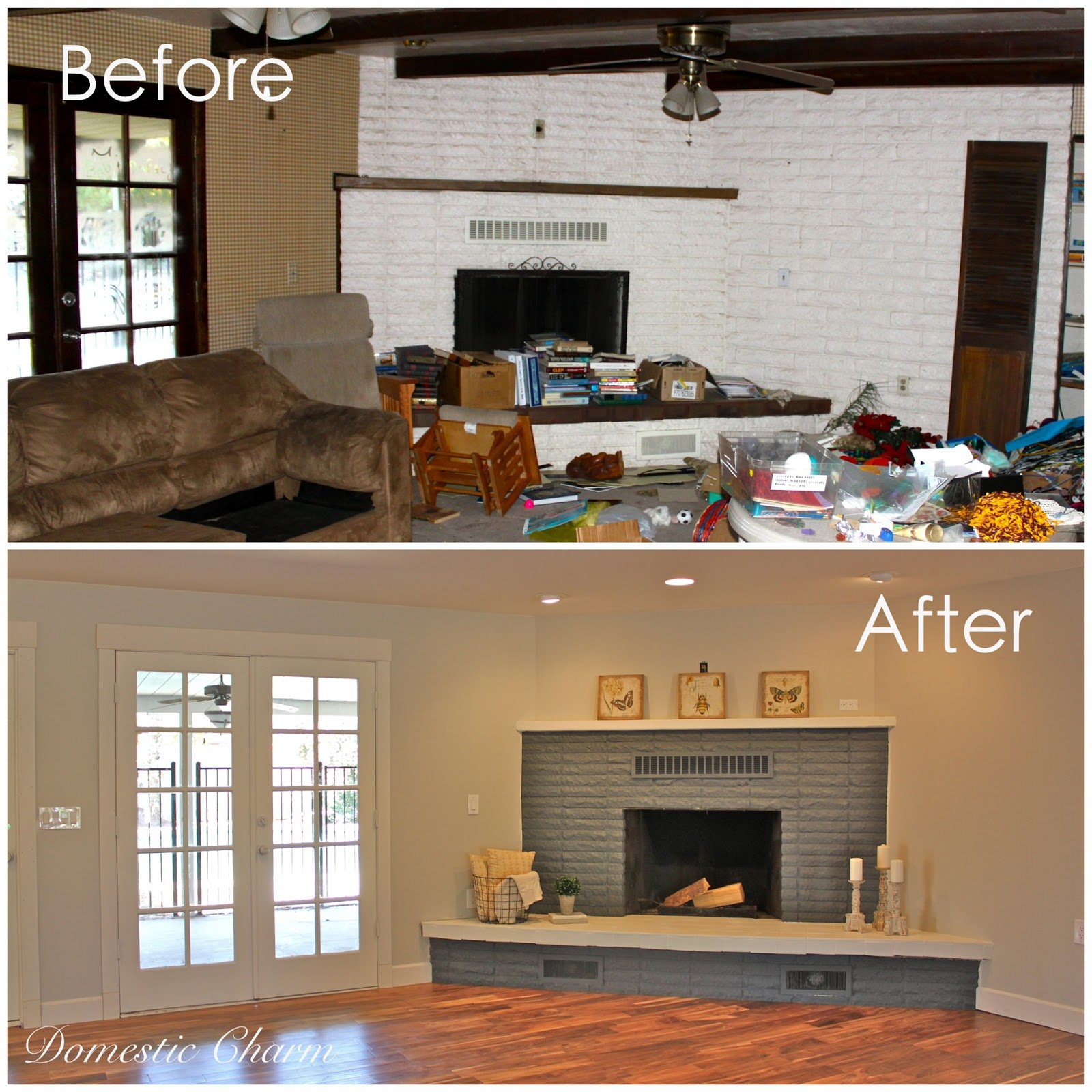 Domestic charm fireplace makeover Corner fireplace makeover ideas
