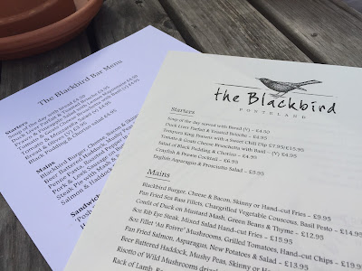 The Blackbird Pub menu, Ponteland