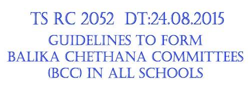 Rc 2052 Balika Chethana Committee Formation Guidlines to HMs and Teachers,balika chethana programme committees,bcc formation guidelines,ap schools,ts schools,balika chethana programme objectives,bcc functioning modalities, teachers training