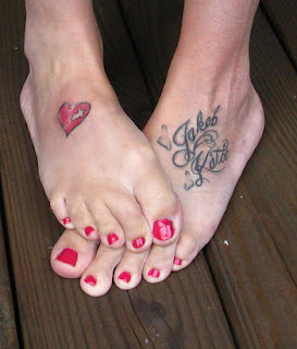 Heart and Script Tattoos - Feet Tattoo Design