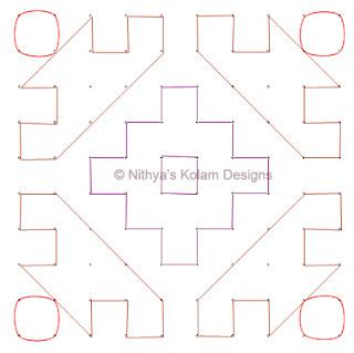 5 Deepam Kolam  dots 10 x 10