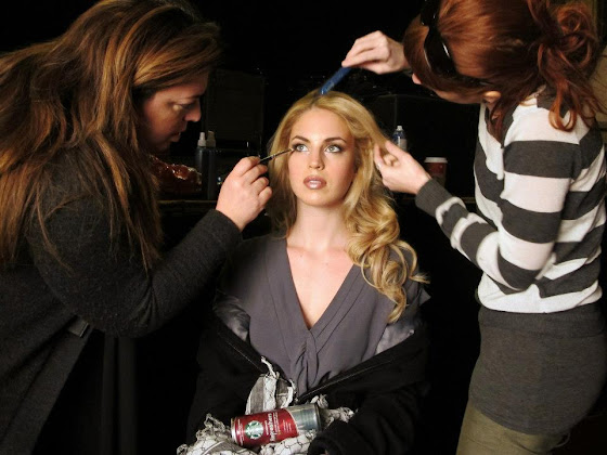Model Sarah Baker having her make done by Frances and Hair by Jen Bean