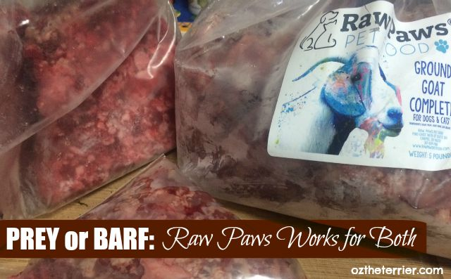 Raw Paws Pet Food, a PREY model raw diet, can also be used for BARF raw diet for dogs