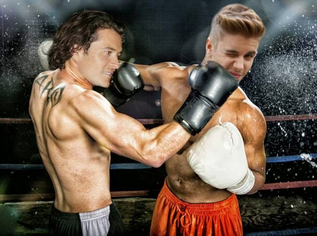 A photoshopped picture of Orlando Punching Bieber