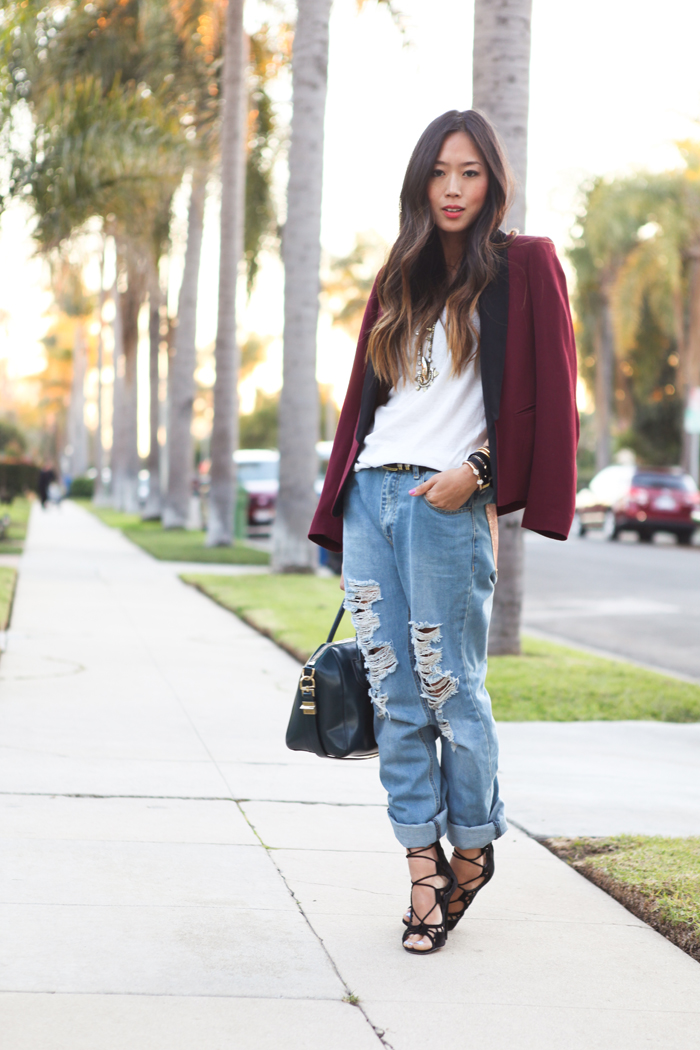 Blazer + Boyfriend Jeans  Song of Style