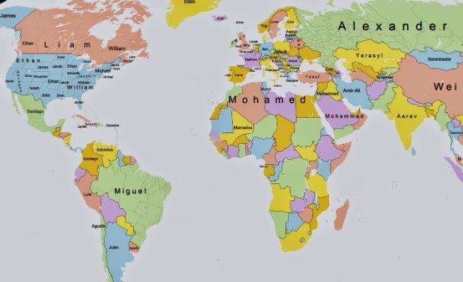 Un mapa recoge los nombres ms populares del mundo MUNDO SEELFREI
