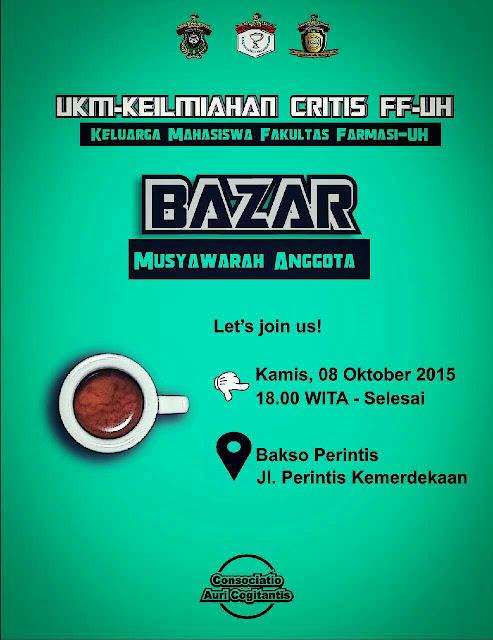 [Agenda] Bazar Musyawarah Anggota UKM CRITIS FF-UH