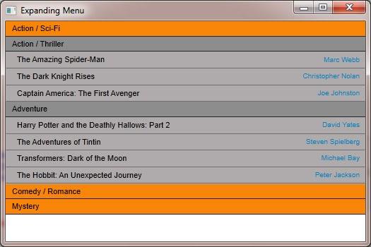 html how to create an expanding menu