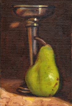 Oil painting of a green pear beside an Art Deco period silver-plated vase.