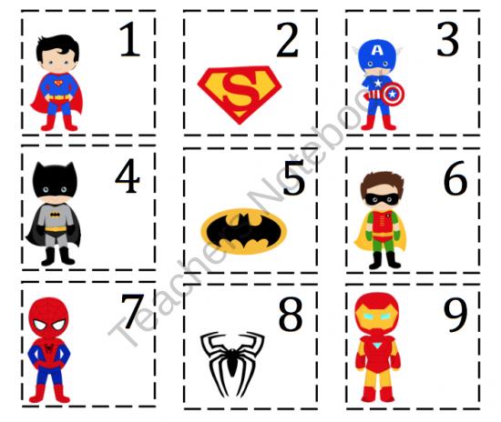 Super Hero Number Cards ~ Preschool Printables
