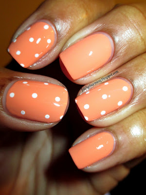 China Glaze Peachy Keen, Church Mani, polka dot, peach, white, conservative, subdued, nails, nail art, nail design, mani