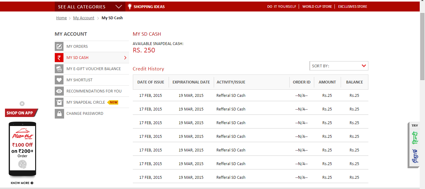 refer and earn proof snapdeal