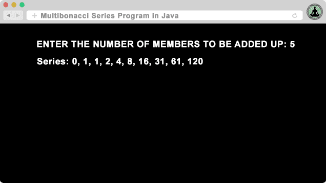 Multibonacci Series Program in Java