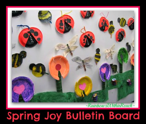 Bulletin Board for Spring with Paper Plate Projects for Insects (from RoundUP of Bulletin Boards via RainbowsWithinReach)