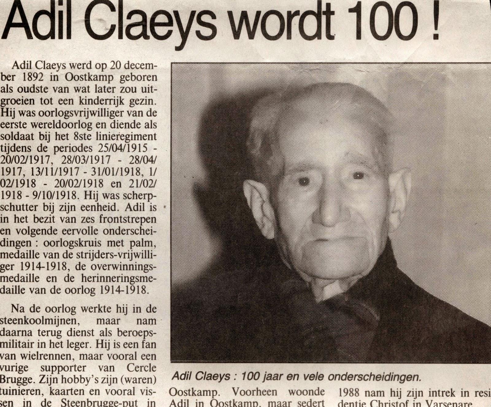 Oorlogsveteraan en Sniper Adil Claeys zet een stap naar de eeuwcirkel. Brugsch Handelsblad.