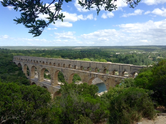 view of Pont du Gard from top of nearby hill