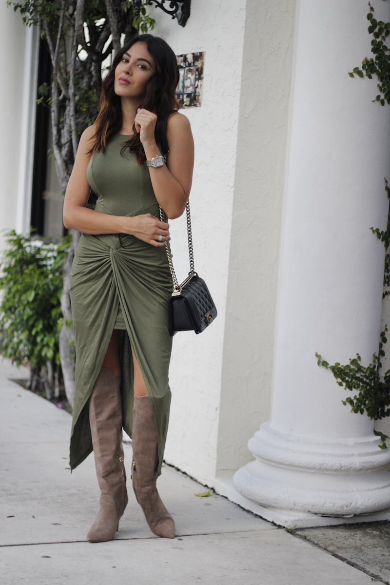 olive green hi-low dress hot Miami styles