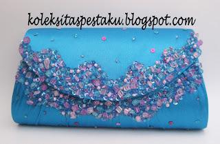 Tas Pesta Biru Tosca Payet Nuansa Pink Mewah Elegant
