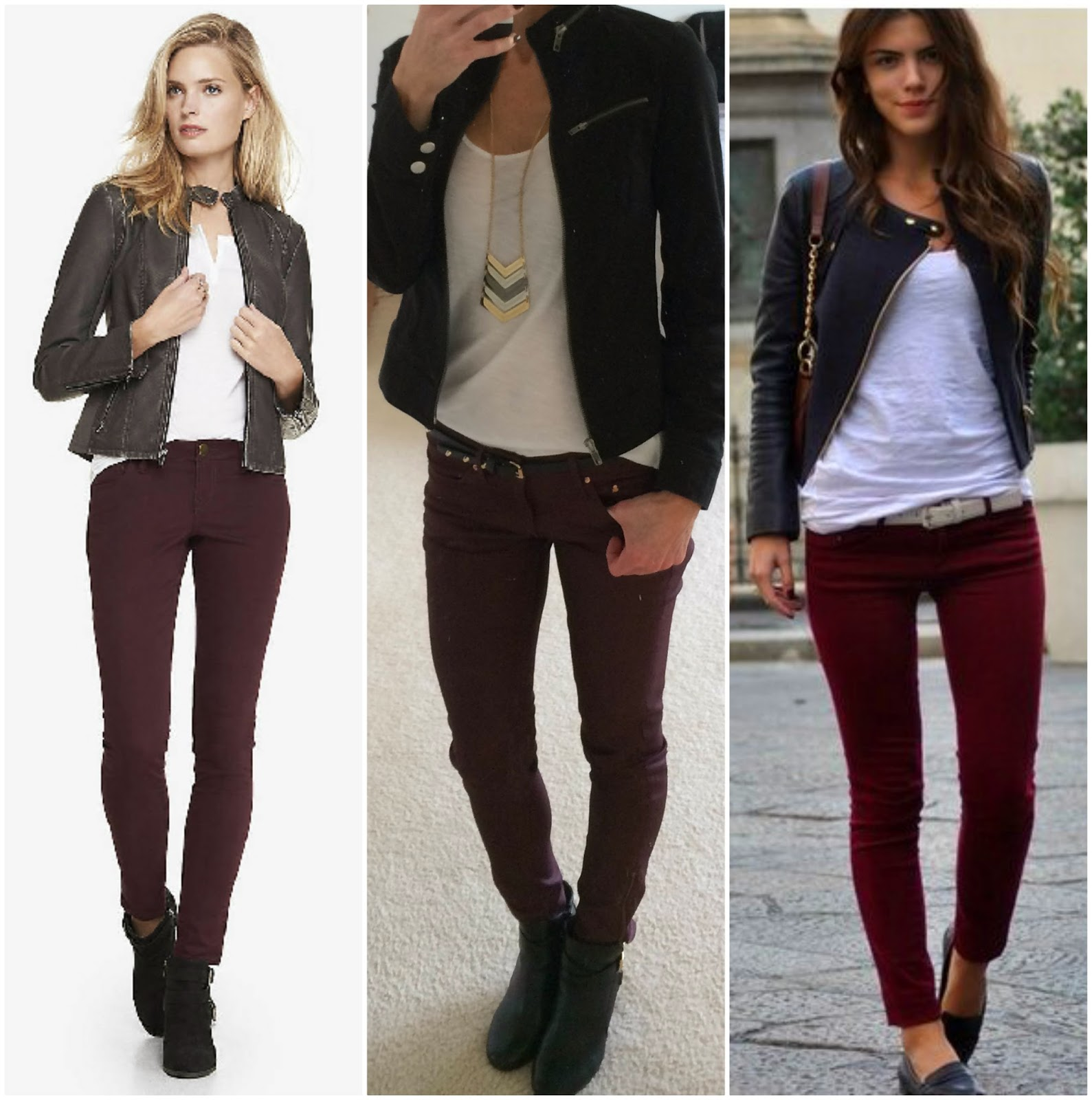 Burgundy jeans styling options, Express dark red jean leggings