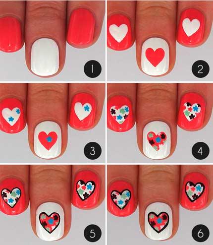 Дизайн ногтей сердце