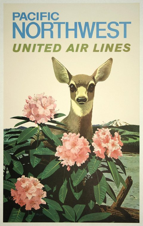 classic posters, free download, graphic design, retro prints, travel, travel posters, vintage, vintage posters, Pacific Northwest, United Air Lines - Vintage Travel Poster