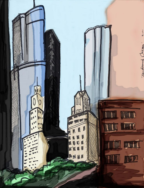 downtown chicago sketch